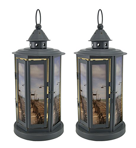 Metal Decorative Candle Lanterns Shabby Beach Pier 2 Piece Grey Metal Led Candle Lantern Set 5.5 X 12 X 5.5 Inches - One Pier Glasses