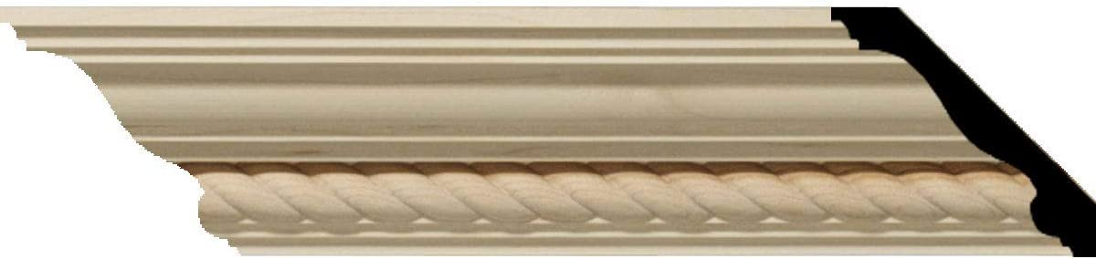 """Ekena Millwork MLD02X02X03ADAL Andrea Rope Carved Wood Crown Moulding, 2 1/4""""H x 2 3/8""""P x 3 1/4""""F, Alder - Wood Moldings And Trims -"""