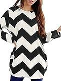 Allegra K Women Round Neck Contrast Color Zig-Zag Knitted Shirt M Black White