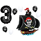 """Pirate Ship Birthday Balloon Decorations with Black #1-9 Number Bundle: 36"""" Black Skull Pirate Ship Foil Balloon with (1) 40"""" Black Number & (3 Each) White & Black Skulls by PartyBox! (3rd Birthday)"""