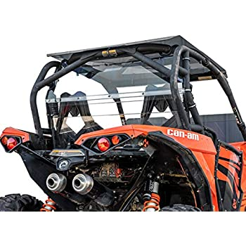 SuperATV Heavy Duty Clear Rear Windshield for Can-Am Maverick/Turbo (2013-2018) - 250x Stronger than Glass!
