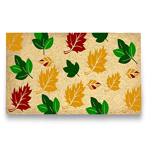MPLUS Pure Coco Coir Doormat with Heavy-Duty PVC Backing - Perfect Color/Sizing for Outdoor/Indoor uses. Pile Height: 15mm - Size: 18-Inches x 30-Inches (18-Inches x 30-Inches, Fall Leaves)