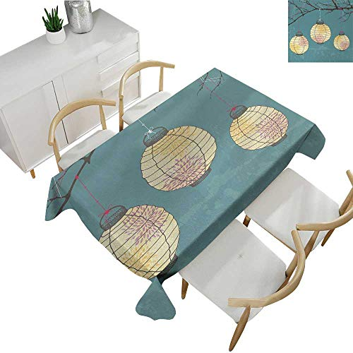Lantern,Rectangular Table Cloth Three Paper Lanterns Hanging on Branches Lighting Fixture Source Lamp Boho Spillproof Fabric Tablecloth Teal Light Yellow 54