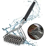 """Fas Industry 18"""" Bristle Free BBQ Grill Brush, Safe Stainless Steel 3 in 1 Grill Cleaner Brush Accessories for Weber Gas/Charcoal Grill Grate, Barbecue Tools"""