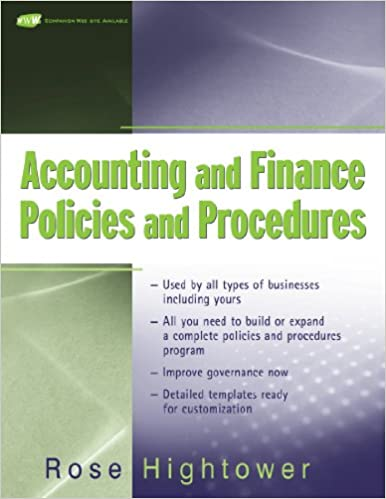 Accounting And Finance Policies And Procedures, (With Url