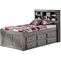 Charcoal Twin Bookcase Bed with 12 Drawers