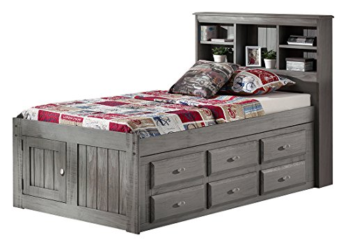 Discovery World Furniture Charcoal Twin Bookcase Captains Bed with 6 Drawer Storage on ONE ()