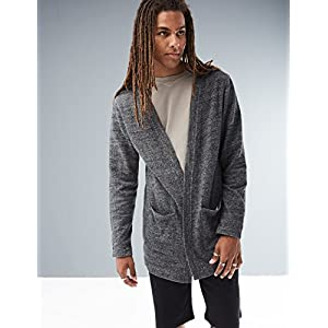 Rebel Canyon Young Men's Open Front Longline Sweatshirt Cardigan X-Large Black Marl
