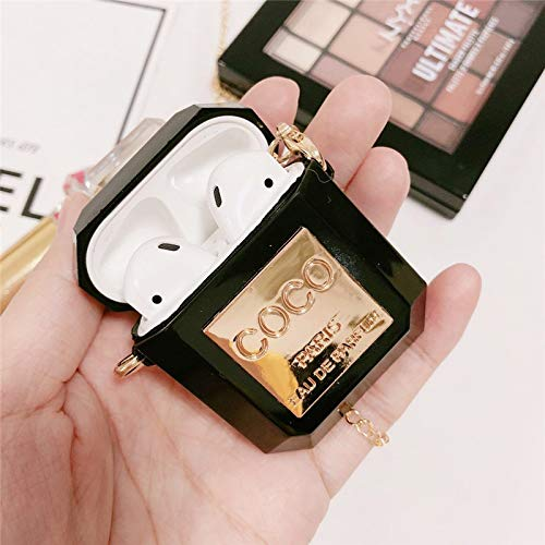 Fit for AirPods Wireless Headset Charging Sleeve, Luxury Creative Coco Perfume Bottle Shape Transparent Transparent Soft Silicone Sleeve Protective Cover with Hook Grip - White (Black) (Coco Black Case)