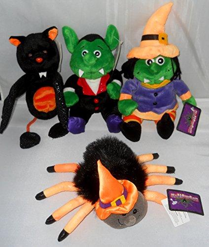 - Halloween Bean Bag Plush: Witch, Spider, Bat, Vampire Set of 4