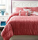 Signature Design by Ashley Crinkle Pleat Bedding Set, Twin, Pink