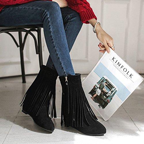 Aisun Damen Spitz Zehen Unsichtbar Keilabsatz Erhöht Troddel Kurzschaft Stiefel mit Reißverschluss Schwarz