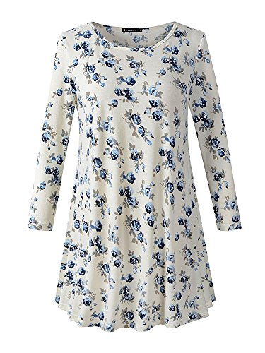 Veranee Women's Plus Size Swing Tunic Top 3/4 Sleeve Floral Flare T-Shirt XXX-Large 16-5