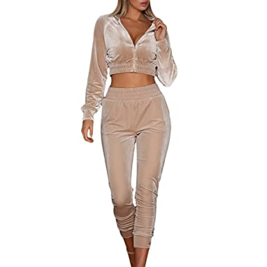 Womens Velvet Two Pieces Sweatsuits Crop Top Zipper Jacket and Long Skinny  Pants Tracksuit With Pockets d88fb49268ab