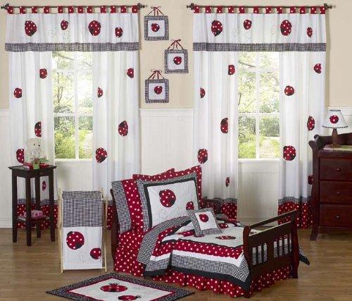 - Sweet Jojo Designs 5-Piece Red and White Polka Dot Ladybug Girl Toddler Bedding Set