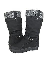 Comfy Moda Women's Winter Boots Fashion Boots Urban Boots Jessie in Black & Tan US Size 6-12 (Black, 8)