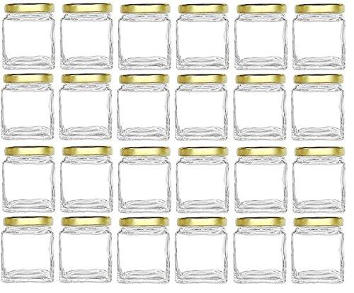 Nakpunar 8 oz Cube Square Glass Jars - Stackable - with Gold Lids for Jam, Honey, Wedding Favors, Shower Favors, Baby Foods, DIY Magnetic Spice Jars (French Candy Jar)
