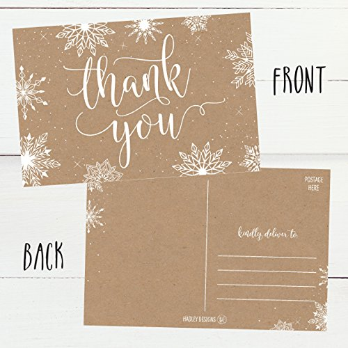 25 4x6 Blank Christmas Holiday Thank You Postcards Bulk, Cute Kraft Winter Snowflake Note Card Stationery For Wedding, Bridesmaids, Bridal or Baby Shower, Teachers, Religious, Business Cards Photo #5
