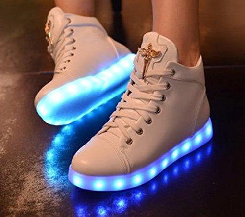 [Present:kleines Handtuch]JUNGLEST Damen Hohe Sneaker Weiß USB Aufladen LED Leuchtend Fasching Partyschuhe Sportsch Weiß