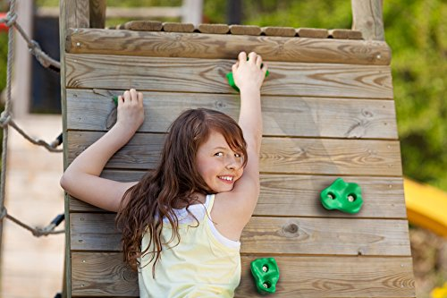 Powerfly Kids Rock Wall Climbing Holds Set of 2 Safety Handles & 12 Screw On Green Climbing Jugs Swing Playset Playground Equipment Accessories Indoor or Outdoor Use Mounting Hardware Included