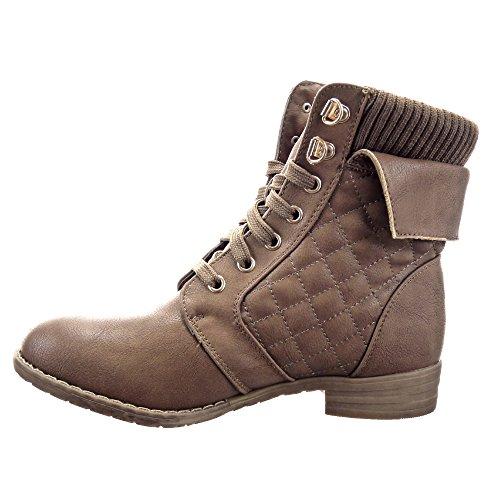 Sopily - Zapatillas de Moda Botines Botas militares Cavalier Low boots A medio muslo mujer zapato acolchado Cremallera Talón Tacón ancho 3 CM - plantilla ...