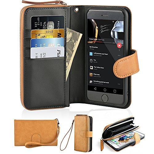 iPhone 6 Plus Wallet Case, JLFCH iPhone 6s Plus Leather Zipper Wallet Case with Magnetic Buckle Detachable Wrist Strap Mini Handbag Purse Style Case for Apple iPhone 6/6s Plus 5.5 inch - Brown