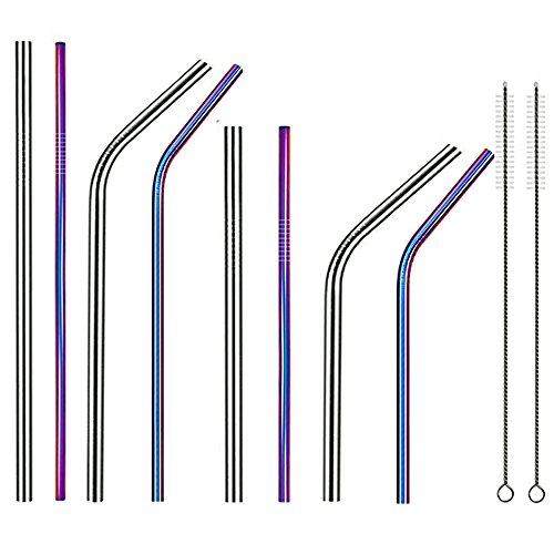 Stainless Steel Straws Wide Reusable Drinking Metal Straws for 30oz 20oz Tumbler length 10.5 8.5 Diameter 0.24 0.35 with Cleaning Brush and Carry Bag(2 Color 4 Size)