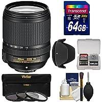 Nikon 18-140mm f/3.5-5.6G VR DX ED AF-S Nikkor-Zoom Lens with 64GB SD Card + 3 Filters + Hood Kit for D3200, D3300, D5300, D5500, D7100, D7200 Cameras