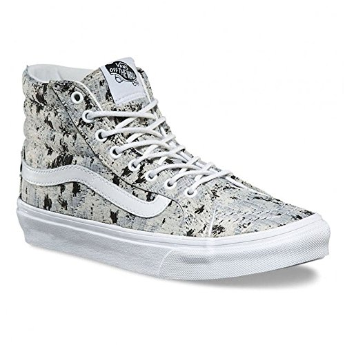 Vans Women Women Sayings Sk8-hi Slim Skate Shoes (sayings) True White (6.5 B (m) Us Women / 5 D (m) Us Men, (italian Weave) Abstract / True White)