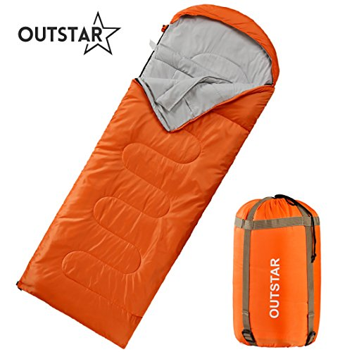 OUTSTAR Lightweight Waterproof Envelope Mummy Sleeping Bag With Compression Sack for Kids,Boys, Girls, Teens & Adults. Indoor &Outdoor Camping, Travelling, Hiking & Backpacking.