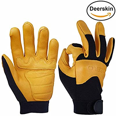 Leather Motorcycle Gloves, OZERO Grain Deerskin Glove for Work, Driving, Gardening, Hunting, Climbing - Extremely Soft and Snug Fit - Superior Grip Reinforced Palm Padding - (Gold/Green, M/L/XL)