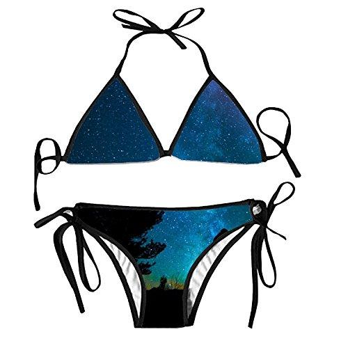Fashion Womens Sexy Padded Bikini Set Kiss Each Other Printing Adjustable Swimsuit 2 Piece ()
