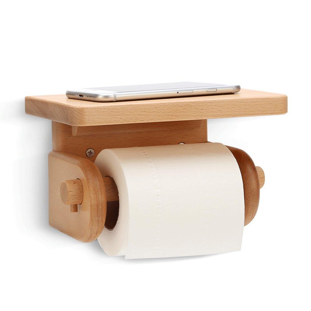 DGF Porta carta igienica, porta rotolo in legno massello da bagno L19cm * L12cm * H11.5cm ( Colore : A ) Great St.