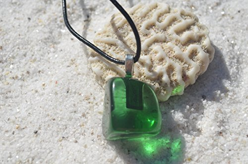 Green Obsidian - Green Obsidian Stone Necklace on a Leather Cord