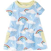 Dutebare Toddler Girls Tunic Short Sleeve Dress Summer Casual Cotton T-Shirt Dresses