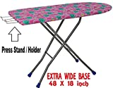 Kisha Heavy Folding Large Ironing Board Stand with Iron Holder (Standard, Colour May Vary)
