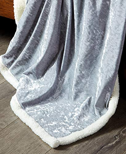 DE MOOCCI Velvet Plush Sherpa Throw Blanket for Couch 50 x 60 | Super Soft and Cozy with a hint of Sheen (Gray) ()