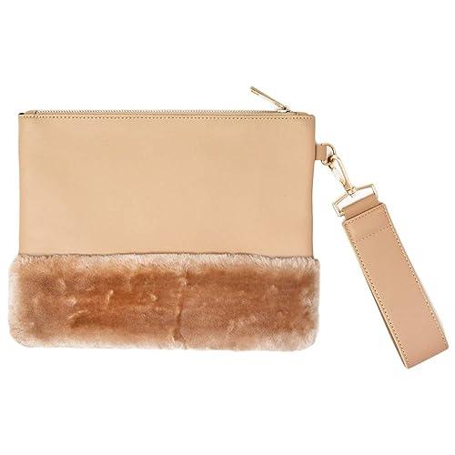 03a836b6de Me Plus Women Fashion Side Hand Strap Clutch Pouch Bag Faux Leather Fur  Detachable Handle (