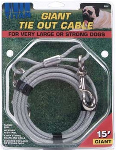 Titan Giant Cable 15-Feet Long Dog Tie Out, Silver by Titan