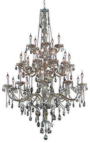 (Elegant Lighting 7925G43GT-GT/RC Royal Cut Smoky Golden Teak Crystal Verona 25-Light, Three-Tier Crystal Chandelier, Finished in Golden Teak with Smoky Golden Teak Crystals Model-7925G43GT-GT/RC)
