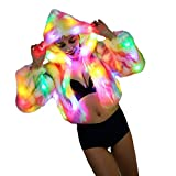 Women's Faux Fur Coat Rainbow Light up Long Sleeve LED Hooded Jacket Parkas (S, LED Rainbow)