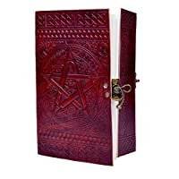 🎁 Large Embossed Star Journal Vintage Notebook Handmade Diary, Feat: Coptic Binding and Vintage Brass Lock, 100% Pure Leather with Free Shipping