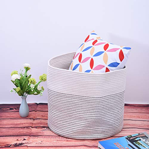 Sodoop Cotton Rope Basket, 15''x13''x13 Living Room Cotton Thread Home Finishing Blanket Pillows Basket for Storage Toy Basket Bin and Baby Laundry Basket,Gray (Shipped by USA)
