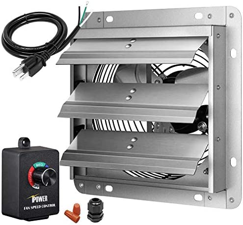 iPower 7 Inch Shutter Exhaust Fan Aluminum with Speed Controller and Power Cord Kit ,High Speed, 1680 RPM, 760 CFM