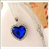 """5Starwarehouse®, riproduzione del """"cuore dell'oceano"""" di Titanic, catenina placcata in argento con pendente a forma di cuore blu, con cristalli bianchi"""