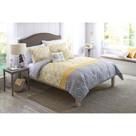 Queen Size Yellow and Gray Medallion Comforter Set 5-Piece Bedding Shams Decorative Pillows