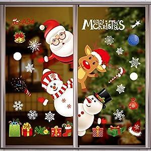 Adesivi per finestre di Natale Adesivi murali, Fiocchi di neve Elettrostatici Adesivi per finestre Renna Babbo Natale Pupazzo di neve Decalcomanie per decorazioni natalizie (A) 3 spesavip
