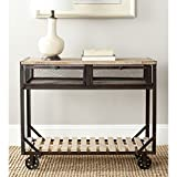 Safavieh American Home Collection Shroder Natural Rolling Console Table