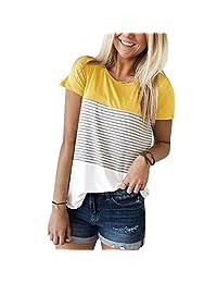 onlypuff Womens Short Sleeve Stripe Plain Tunics Casual Tops S-XXL
