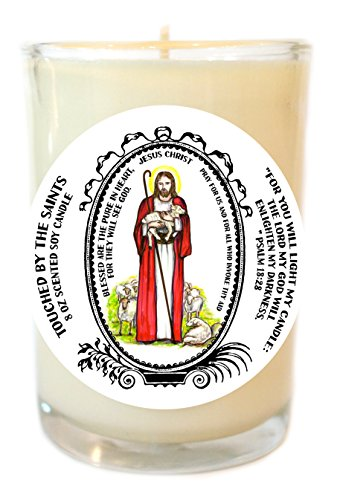 Jesus Christ We Walk By Faith 8 Oz Scented Soy Glass Prayer Candle by Touched By The Saints